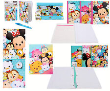 DISNEY Tsum Tsum 6pc Stationary Gift Set Folder Notebook Diary Book Pencil Pouch
