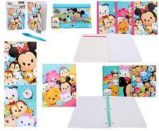 DISNEY Tsum Tsum 6pc Stationary Gift Set Folder Notebook Diary Book Pencil Pouch