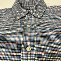 Ralph Lauren Mens  Blue Red Green Plaid Button Down  Shirt Size M EUC