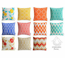Colourful WATERPROOF OUTDOOR Cushion Covers Geometric Bright Floral Pillow  Cases