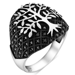Solid 925 Sterling Silver Black Micro Stone Life of Tree Men's Ring