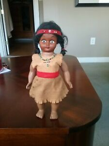 "Vintage  Native American Indian Souvenir Plastic Doll 10.5"" beads, headband"
