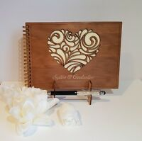 Deluxe A5 size,Wooden Wedding Guest Book, stained, varnished, party, birthday