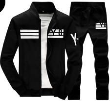 Mens Black FITTED Tracksuit Y8 Jacket Pants 2 Piece Set Clothing-Runs Small