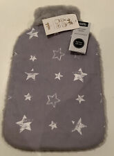 BNWT Hot Water Bottle And Cover Soft And Fluffy With Stars Ideal Christmas Gift