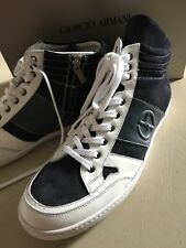 New $795 Giorgio Armani Mens Leather High Top Sneakers Black/White 12 US  X2Z005