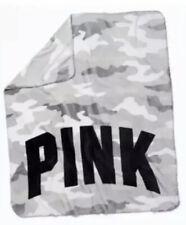 New Victoria Secret Pink Camo Gray Black Cozy Fleece Plush Logo Blanket