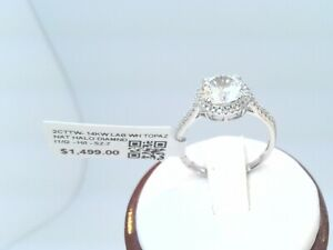 $1500 2CTTW CT REAL HALO Diamond Engagement WEDDING dainty Ring 14k Solid Gold!