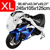 XL Motorcycle Cover Black Silver Road Motor Bike Waterproof Outdoor Protector