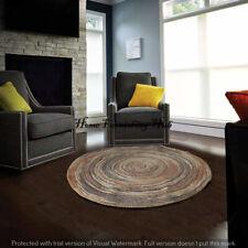 Natural Jute Braided Reversible Decor Round -5 Ft Floor Mat Handmade Rag Rugs