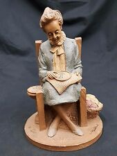 "Tom Clark Gnome ""Rebecca"" Knitting Retired Edition 79 Signed 1987 Coa Included"