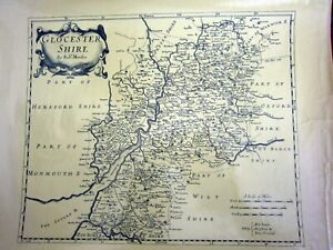 1970s Replica of 18th Century County map of Gloucestershire by Robert Morden