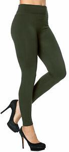 Womens Leggings Ladies FLEECE LINED Black Tummy Control High Waist Size NEW