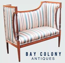 Adam'S Antique Style Sheraton Mahogany & Lacewood Inlaid Settee / Sofa / Couch