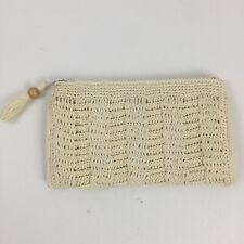 Vintage Lord & Taylor Straw Raffia Purse Handbag Bag Clutch Zippered Crochet