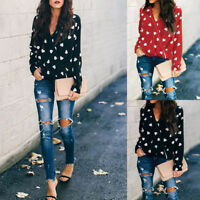 Valentine's Day Women heart Print V-neck Tops Long Sleeve Lovely T-Shirt Blouse