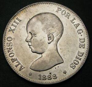 SPAIN 5 Pesetas 1888 (88) MP-M - Silver - Alfonso XIII. - XF- - 1131