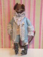 OOAK felt Handmade cloth rag Royal Prince Mouse Doll-Victorian-light blue suit