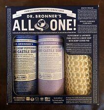 Dr. Bronner's All in One Gift Set  Peppermint & Lavender Liquid Soap Hemp Scrub