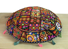 "32"" Indian Vintage Cushion Cover Round Cover Patchwork Floor Pillows Case Throw"