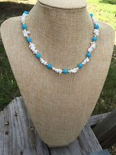HDMD by Cyndi Necklace of Blue and White Chalk Turquoise Beads & Silver Accents