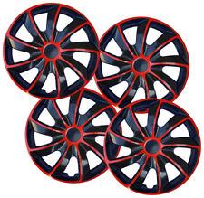 Set of 16'' Wheel trims hubcaps for Vauxhall Vivaro - black / red