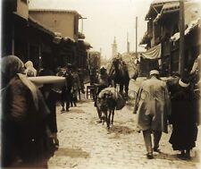 SYRIE SYRIA Rue Damas Plaque de verre stereo Vintage ca 1928