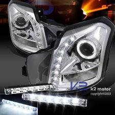 Chrome 03-07 Cadillac CTS V SMD Halo Projector Headlight+Bumper LED DRL Fog Lamp