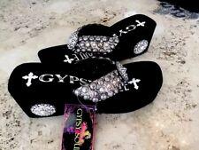 73f657446c82b1 Gypsy Soule Metallic Sandals Last Pair NWT  490 Swarovski Crystal Flip Flops  11M