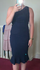 One Shoulder Bodycon Navy Dress AX Paris With Frill Detail And Lace Top Size 12