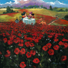 Disney Oil Painting Printed on Canvas-Red Poppies w/ Mickey & Minnie Mouse-12x12