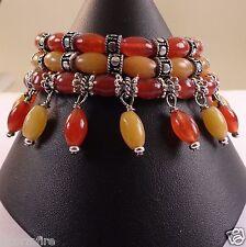 JFTS Red Jade Orange Aventurine 3 Strand Bead Bracelet, Tibetan Silver , 7 Inch