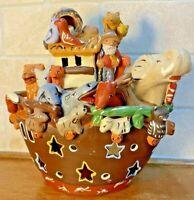 Noah's Ark-Folk Art Pottery-Handmade-Clay-Peru-Vintage-Votive or Night Light