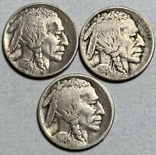 1915-P, D and S Mints Buffalo 5C Nickels  ALL 3!