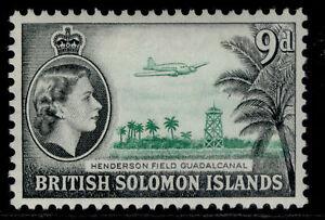 BRITISH SOLOMON ISLANDS QEII SG90a, 9d emerald & black, VLH MINT.