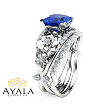 Princess Cut Sapphire Engagement Ring Set Unique 14K White Gold Bridal Ring Set
