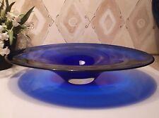 "Beautiful Signed 9 1/4"" COBALT BLUE Hand Blown OVAL GLASS BOWL DISH by Jan Benda"