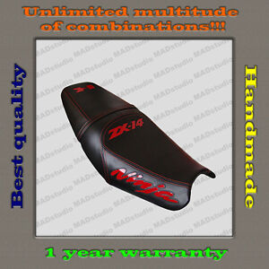 Custom Design Seat Cover KAWASAKI NINJA ZX-14(ZZR1400) 06-11 black+red-gloss 001