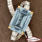Antique Deco Diamond 18.81ct Aquamarine Platinum Gold Brooch Pin 13.7 Grams NR
