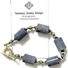 Sterling Silver Natural Blue SPONGE CORAL Gemstone Bead Bracelet...Handmade USA