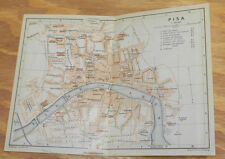 1909 Antique COLOR Road Map of PISA, ITALY