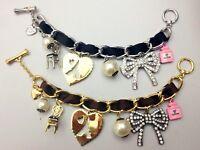 B321 BETSEY JOHNSON Stripey Hearts with Ribbon Gem Heart Chain Bracelet US