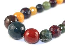 """LUXE MIXED GEMSTONES GRADATED FACETED ROUND 14MM-6MM LOOSE BEADS 17"""""""