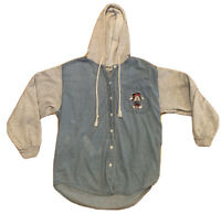 Vintage Disney Mickey Mouse Jerry Leigh Denim Blue Hoodie Shirt Button Womens L