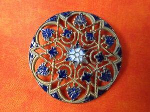 5799 – XL Champlevé Enamel Midnight Blue Star of David Pierced Antique Button