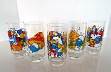 Smurf Glasses Set of 6 Peyo 1982-83 Baker Papa Brainy Smurfette Handy 00004000  Berrie Co