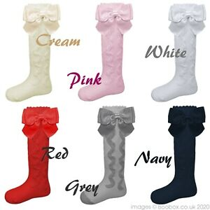 Pex Girls Baby Knee High Length Socks Satin Bow Ruffle Spanish 6 Months -9 Years