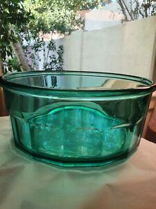 """Vintage 10 Panel Glocoloc Large France Teal Glass  Bowl 9"""" X 4"""" GUC #22"""