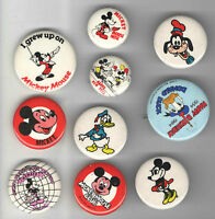 10 DISNEY Character pin Mostly MICKEY Mouse +  Minnie Goofy DONALD Duck pinback