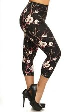 New Women's Plus Size Sexy Capri Floral Print Leggings Stretchy 1XL-3XL R581